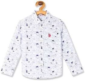 U.S. Polo Assn. Boy Cotton Printed Shirt White