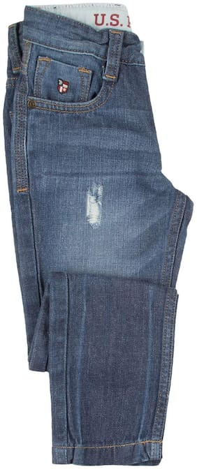 U.S. Polo Assn. Blue Cotton Boys Distressed Washed Jeans