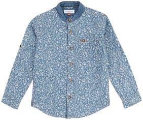 U.S. Polo Assn. Boy Cotton Printed Shirt Blue