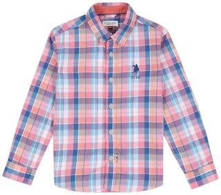 U.S. Polo Assn. Boy Cotton Solid Shirt Pink