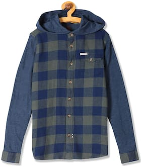 U.S. Polo Assn. Boy Cotton Checked Shirt Green