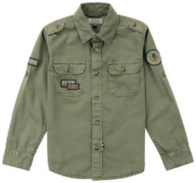 U.S. Polo Assn. Kids Green Cotton Boys Solid Regular Fit Shirt