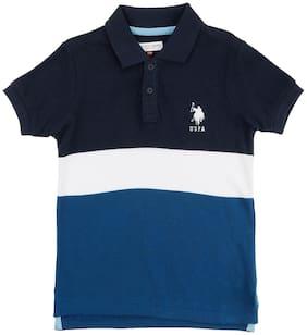 U.S. Polo Assn. Boy Cotton Striped T-shirt - Blue