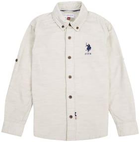 U.S. Polo Assn. Boy Cotton Solid Shirt Grey