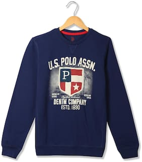 U.S. Polo Assn. Boy Cotton Printed Sweatshirt - Blue