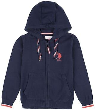 U.S. Polo Assn. Boy Cotton Solid Winter jacket - Blue
