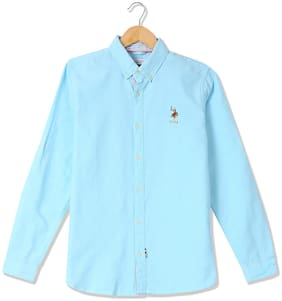 U.S. Polo Assn. Boy Cotton Solid Shirt Blue