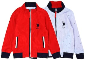 U.S. Polo Assn. Boy Cotton Solid Winter jacket - Red