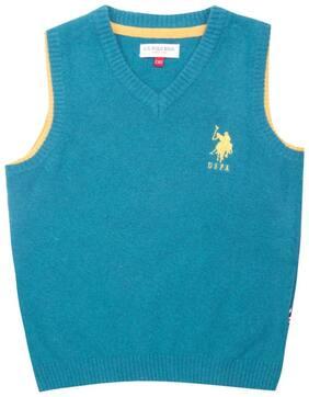 U.S. Polo Assn. Boy Cotton Solid Sweater - Blue