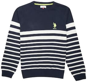 U.S. Polo Assn. Boy Cotton Striped Sweater - Blue
