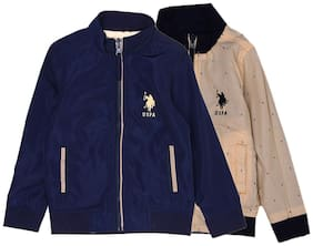 U.S. Polo Assn. Boy Cotton Solid Winter jacket - Blue