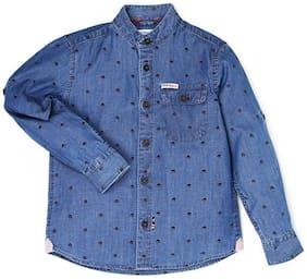 U.S. Polo Assn. Boy Cotton Solid Shirt Blue