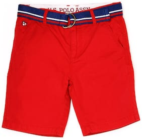 U.S. Polo Assn. Boys Me. Red Solid Shorts & 3/4ths