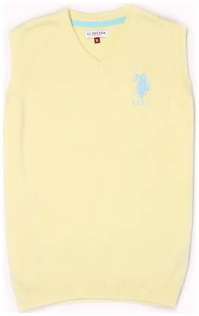 U.S. Polo Assn. Boy Cotton Solid Sweater - Yellow