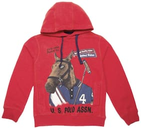 U.S. Polo Assn. Boy Cotton Solid Sweatshirt - Red