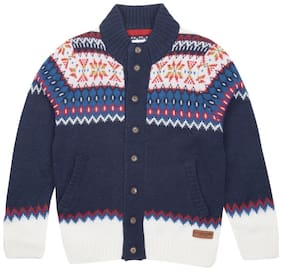 U.S. Polo Assn. Boy Cotton Solid Sweater - Blue