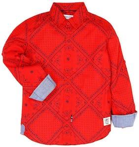 U.S. Polo Assn. Boy Cotton Printed Shirt Red