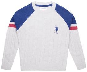 U.S. Polo Assn. Boy Cotton Solid Sweater - Grey