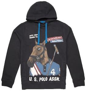 U.S. Polo Assn. Boy Cotton Solid Sweatshirt - Black