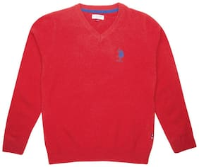 U.S. Polo Assn. Boy Cotton Solid Sweater - Red