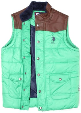 U.S. Polo Assn. Boy Polyester Solid Winter jacket - Blue