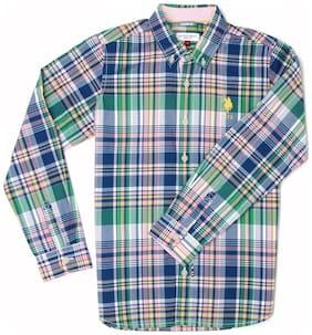 U.S. Polo Assn. Boy Cotton Checked Shirt Multi