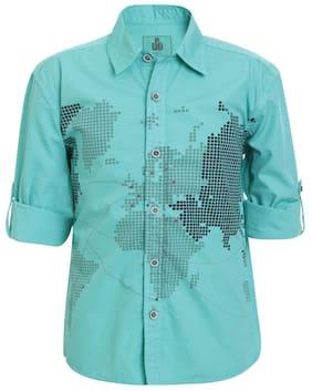 UFO Boy Cotton Printed Shirt Green