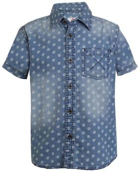 UFO Boy Cotton Printed Shirt Blue