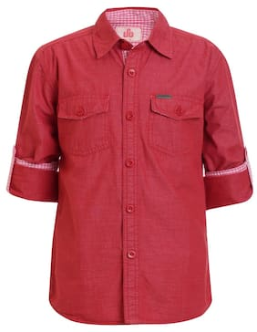 UFO Boy Cotton Solid Shirt Red