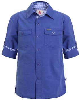 UFO Boy Cotton Solid Shirt Blue