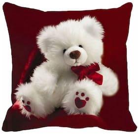 Ultra Angel Teddy Printed Cushion 12x12 inch Red