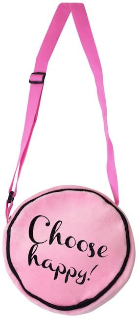 Ultra Choose Happy Soft Toy Sling Bag with Cool message  8 inch Baby Pink
