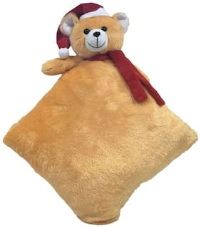 Ultra Christmas Santa Teddy Pillow Brown 12 inch