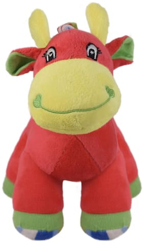 Ultra Colourful Baby Giraffe with sound 9 inch Red