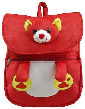 Ultra Soft Toy Cute Teddy Face School Bag Red 14 inch