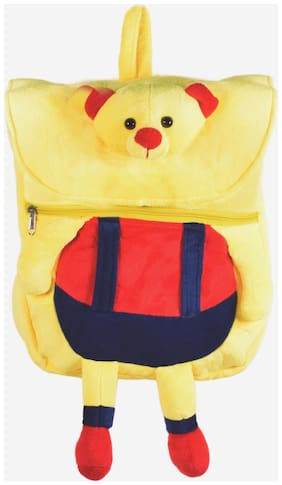 Ultra Cute Teddy Face School Bag 14 inch Yellow