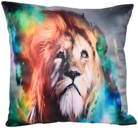 Ultra Majestic Lion Printed Cushion 12x12 inch Multicolour
