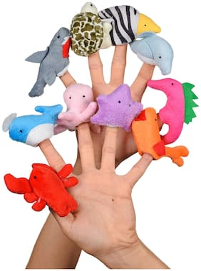 Ultra Marine Sea Animal Plush Finger Puppet Soft toys for Birthday Gift - Set of 10 (5 cm)  Multicolor