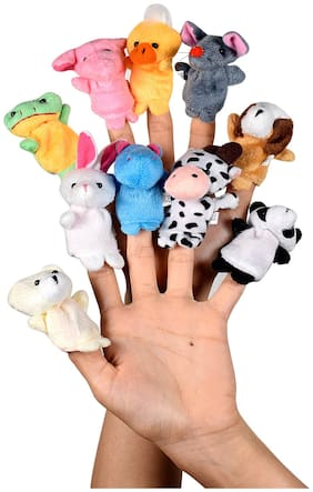 Ultra Plush Animal Finger Puppets Soft Toy Birthday Gift for Baby Boy And Girl - Set of 10 (5cm) Multicolor