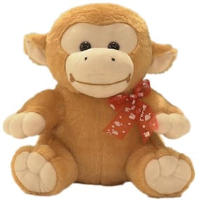 Ultra Soft Toy Animal Monkey with Red Bow Brown 11 inch