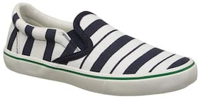 United Colors Of Benetton White & Navy Blue Casual Shoes For Girls