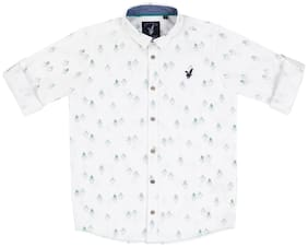URBAN SCOTTISH Boy Cotton Printed Shirt White