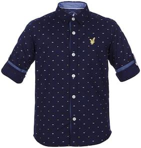 URBAN SCOTTISH Boy Cotton Solid Shirt Blue