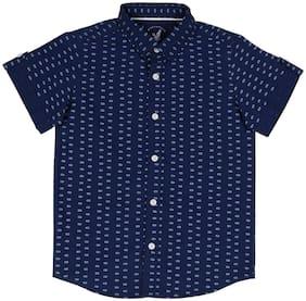 URBAN SCOTTISH Boy Cotton Printed Shirt Blue