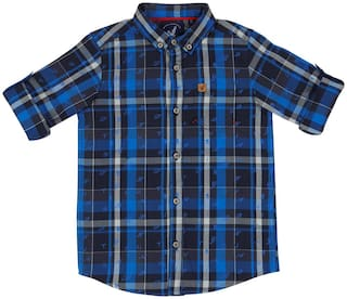 URBAN SCOTTISH Boy Cotton Printed Shirt Blue