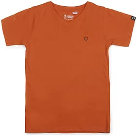 Urbano juniors Boy Cotton Solid T-shirt - Orange