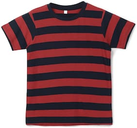 Urbano juniors Boy Cotton Striped T-shirt - Red