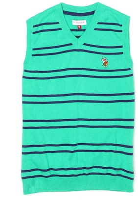 U.S. Polo Assn. Boy Cotton Solid Sweater - Green