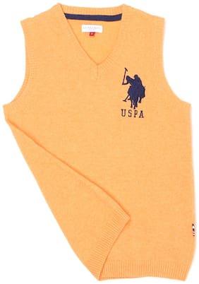 U.S. Polo Assn. Boy Wool Solid Sweater - Yellow