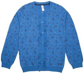 U.S. Polo Assn. Girl Cotton blend Solid Sweater - Blue